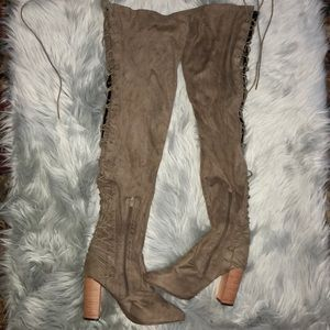 Chase+Chloe Addison corset over the knee boot